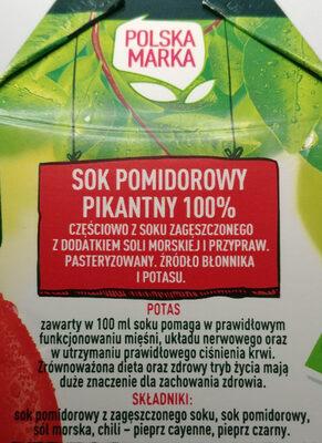 Sok pomidorowy pikantny - Ingrédients - pl