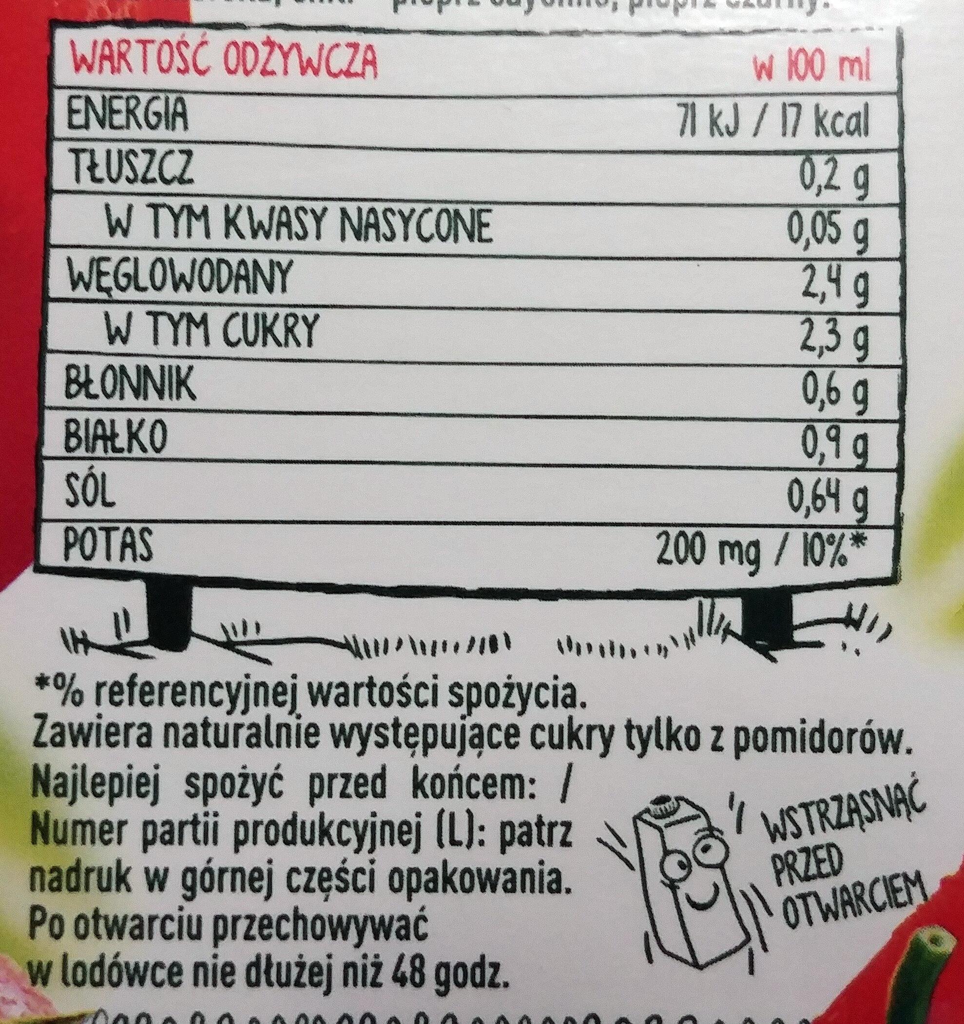 Sok pomidorowy pikantny - Informations nutritionnelles - pl