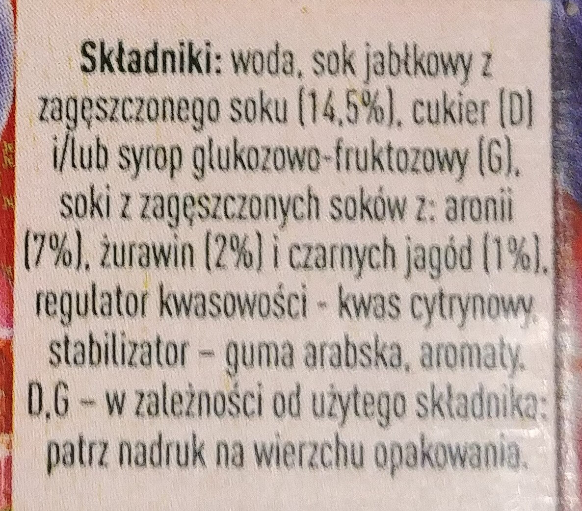 Żurawina - Ingredients - pl