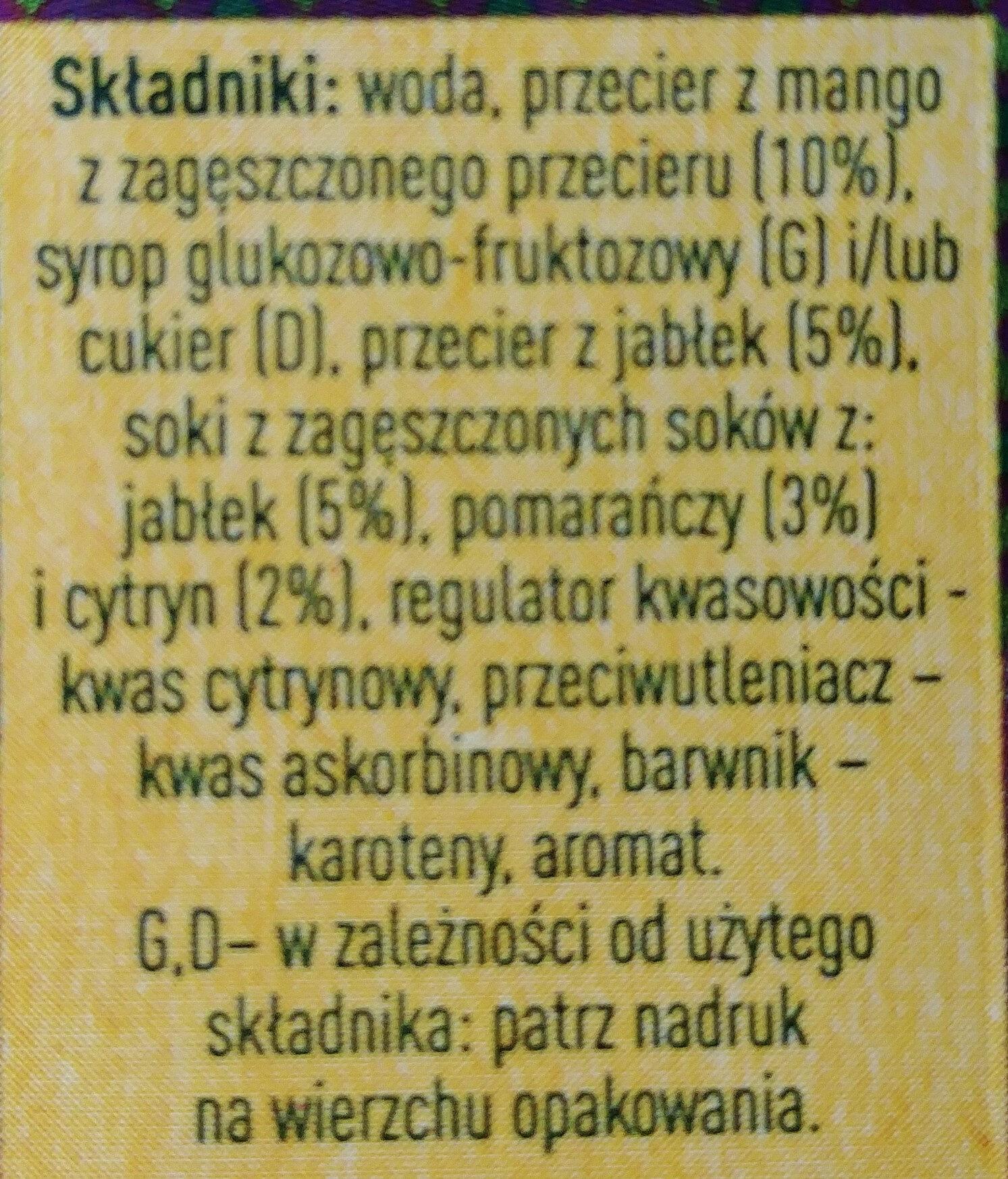 Napój wieloowocowy: mango, jabłko, pomarańcza, cytryna. - Składniki - pl