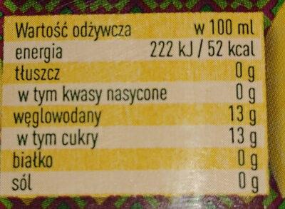 Napój wieloowocowy: mango, jabłko, pomarańcza, cytryna. - Wartości odżywcze - pl