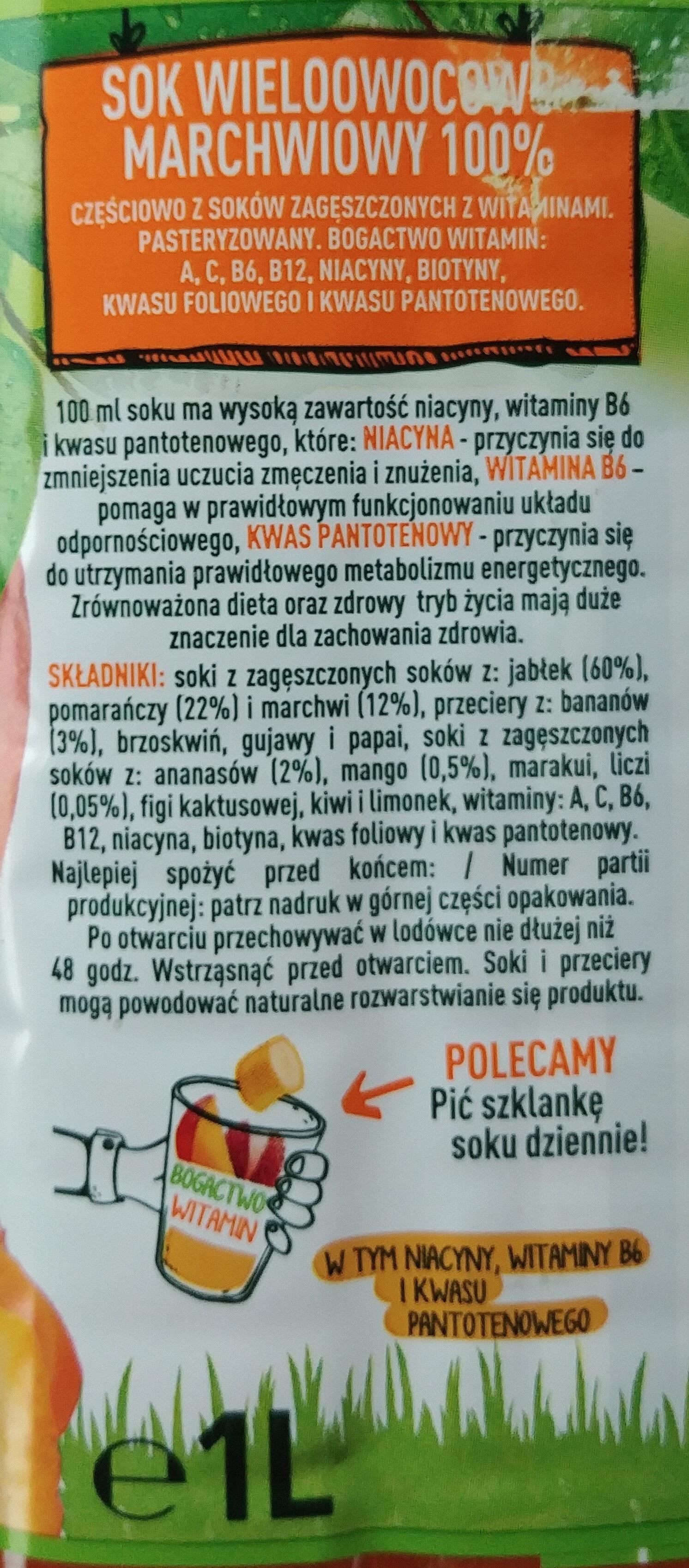 Sok wieloowocowo marchwiowy - Ingrediënten - pl