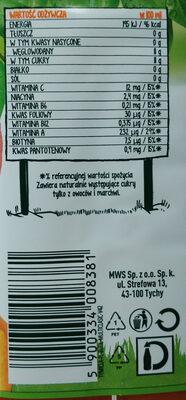 Sok wieloowocowo marchwiowy - Voedingswaarden - pl