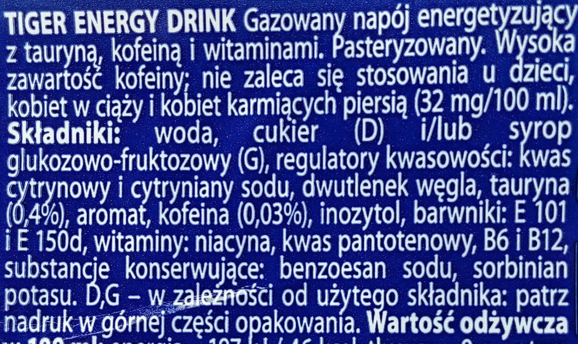 Gazowany napój energetyzujący z tauryną, kofeiną i witaminami - Składniki
