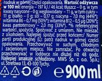 Gazowany napój energetyzujący z tauryną, kofeiną i witaminami - Wartości odżywcze