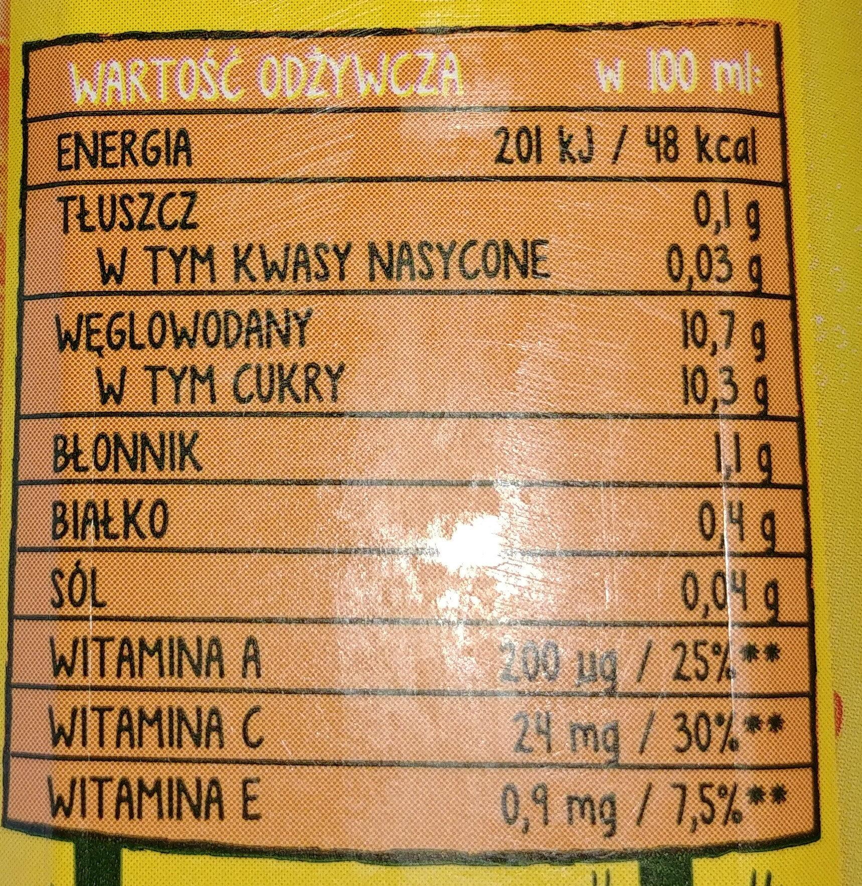 Sok z marchwi, bananów i jabłek - Wartości odżywcze