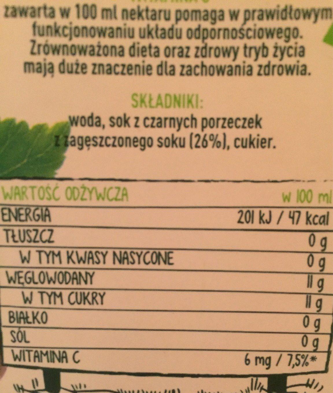 Tymbark - Czarna Porzeczka - Wartości odżywcze - fr
