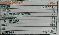 Tymbark sok 100% Pomarańcza - Wartości odżywcze