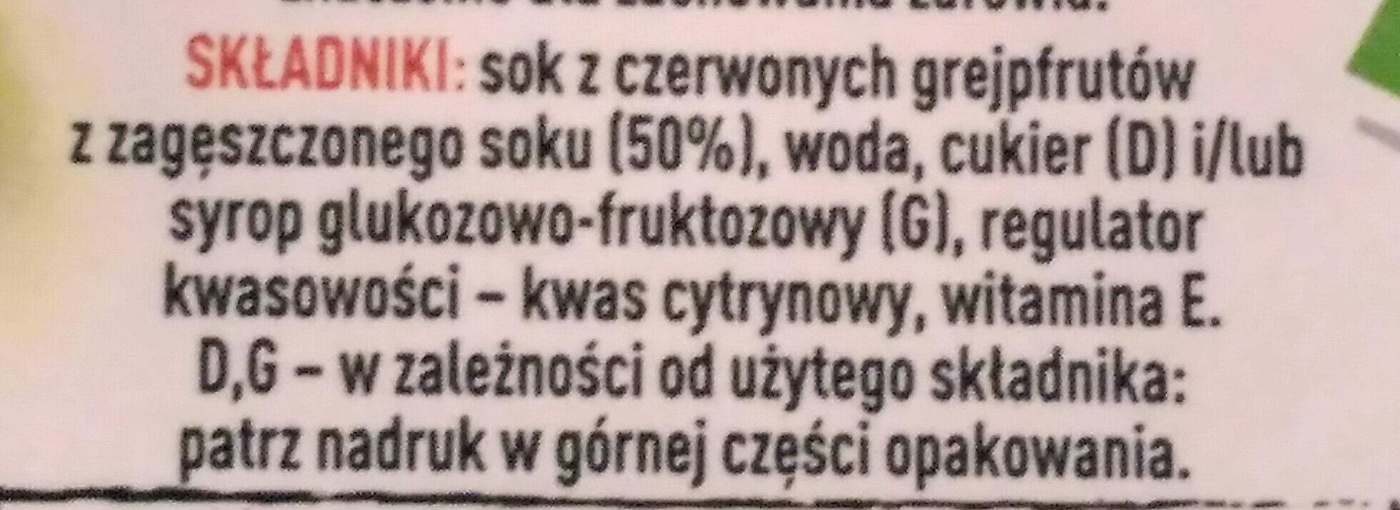 Tymbark nektar czerwony grejpfrut - Ingredients - pl