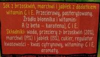 Sok z brzoskwiń, marchwi i jabłek z dodatkiem witamin C i E. - Składniki - pl