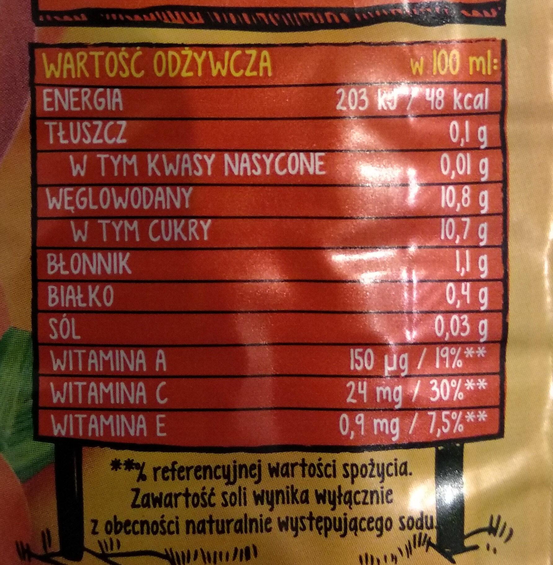 Sok z brzoskwiń, marchwi i jabłek z dodatkiem witamin C i E. - Wartości odżywcze - pl