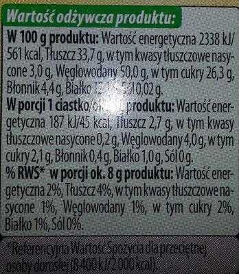 Ciasteczka z ziarnami słonecznika i sezamu oraz siemieniem lnianym - Wartości odżywcze - pl