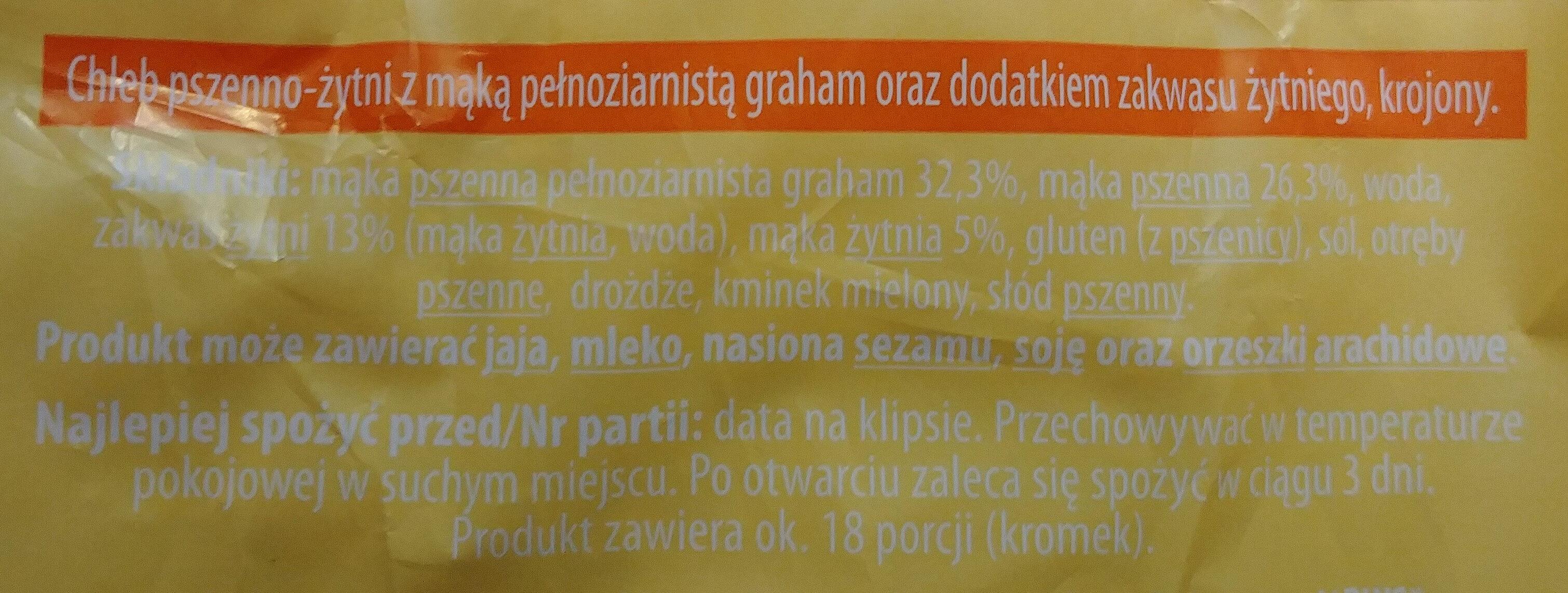 Chleb-pszenno-żytni z mąką pełnoziarnistą graham oraz dodatkiem zakwasu żytniego, krojony. - Ingrédients - pl