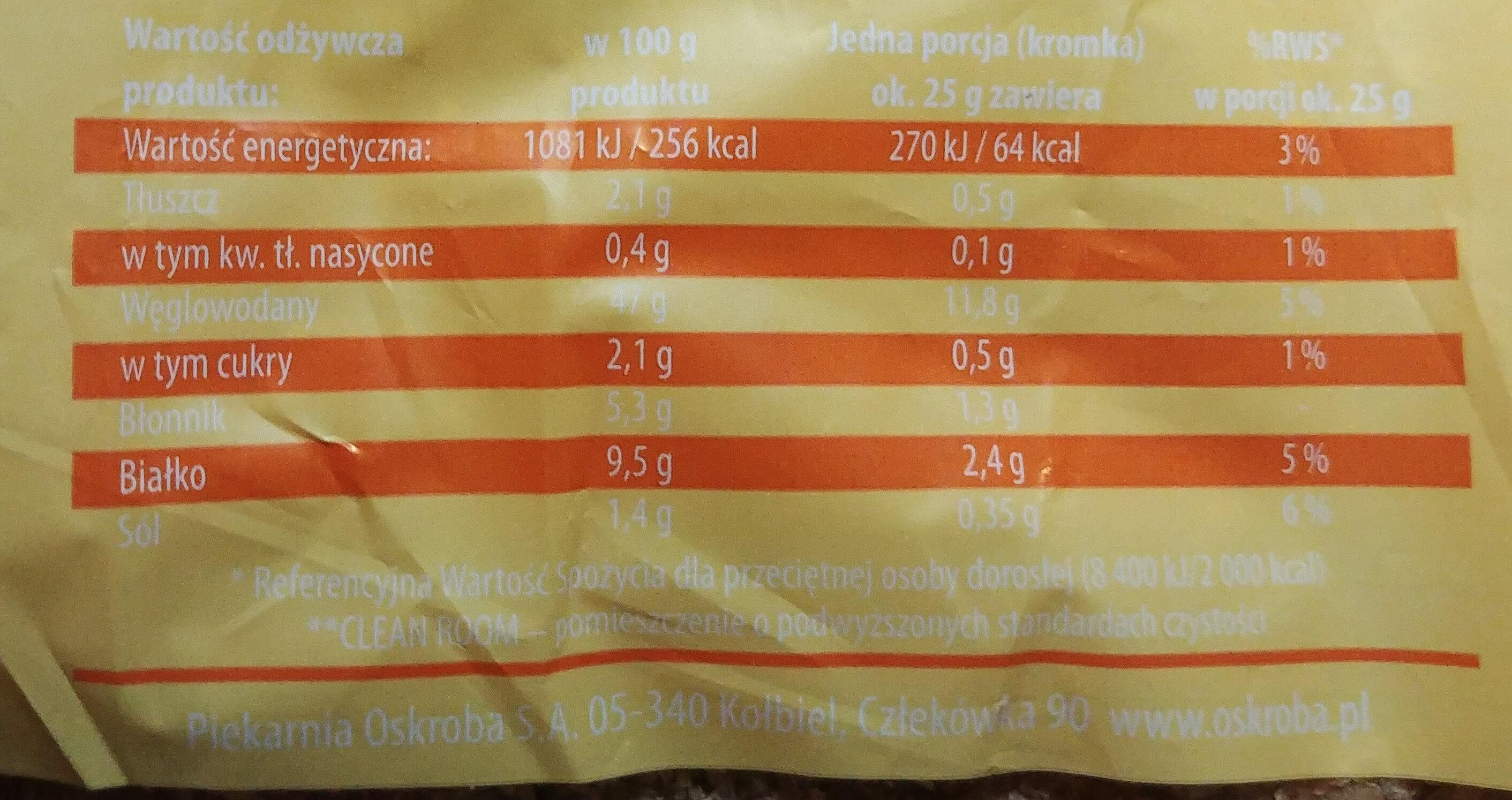 Chleb-pszenno-żytni z mąką pełnoziarnistą graham oraz dodatkiem zakwasu żytniego, krojony. - Informations nutritionnelles - pl