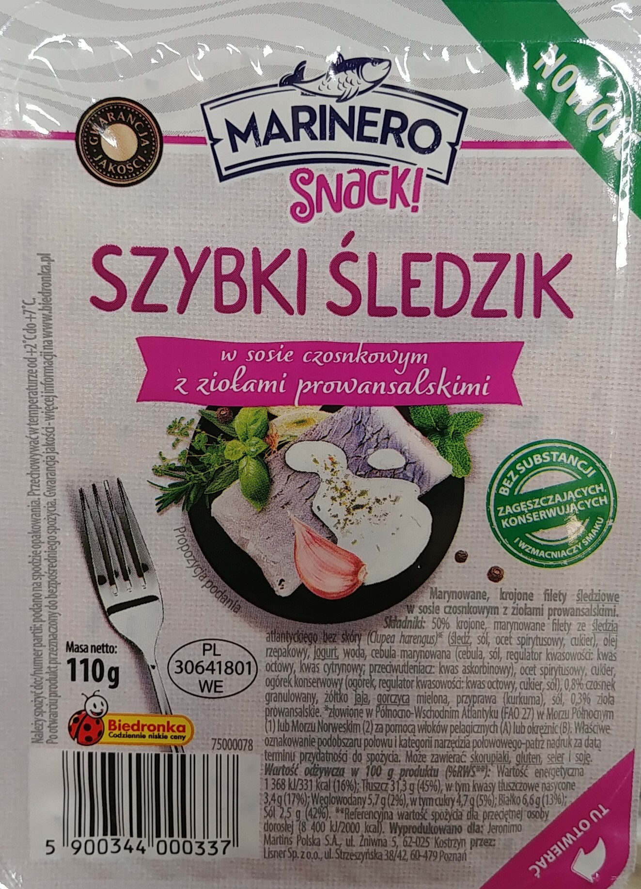 Marynowane, krojone filety śledziowe w sosie czosnkowym z ziołami prowansalskimi. - Produkt - pl