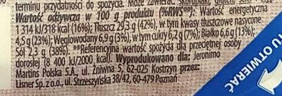 Marynowane, krojone filety _śledziowe_ w sosie śmietankowym z cebulą, ogórkiem i jabłkiem. - Wartości odżywcze - pl