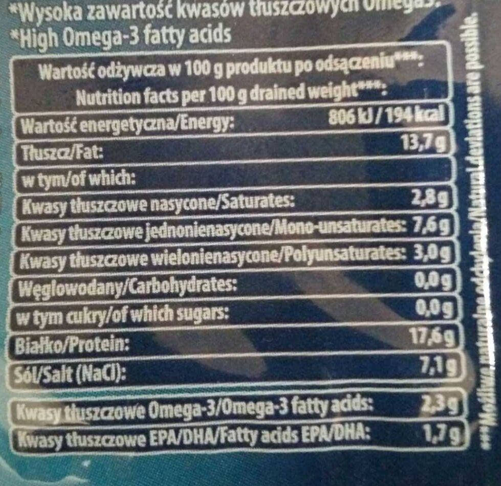 Filety śledziowe w oleju a'la Matjas - Voedingswaarden - pl