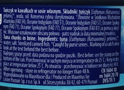 Tuńczyk w kawałkach w sosie własnym. - Ingrédients - pl