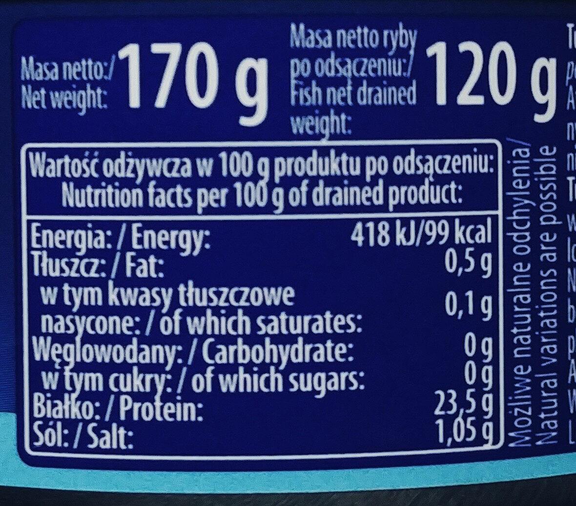 Tuńczyk w kawałkach w sosie własnym. - Informations nutritionnelles - pl