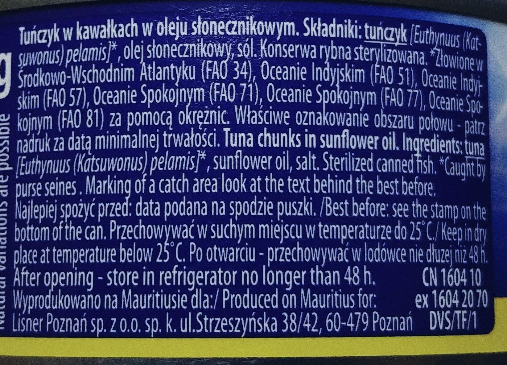 Tuńczyk kawałki w oleju roślinnym - Ingrédients - pl