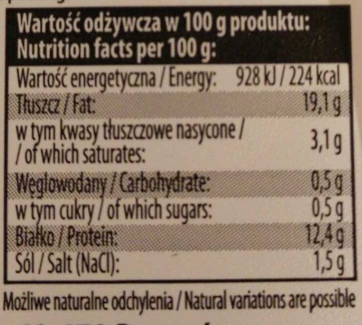 Koreczki śledziowe z cebulą w oleju rzepakowym. - Wartości odżywcze