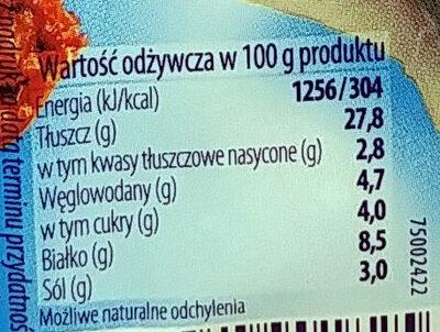 Marynowane, krojone filety bez skóry ze śledzia atlantyciego z suszonymi pomidorami w oleju. - Voedingswaarden - pl