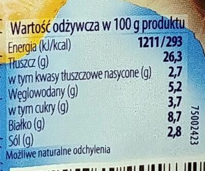 Marynowane, krojone filety bez skórki ze śledzia atlantyckiego z ogórkiem konserwowym i czosnkiem w oleju rzepakowym. - Voedingswaarden - pl