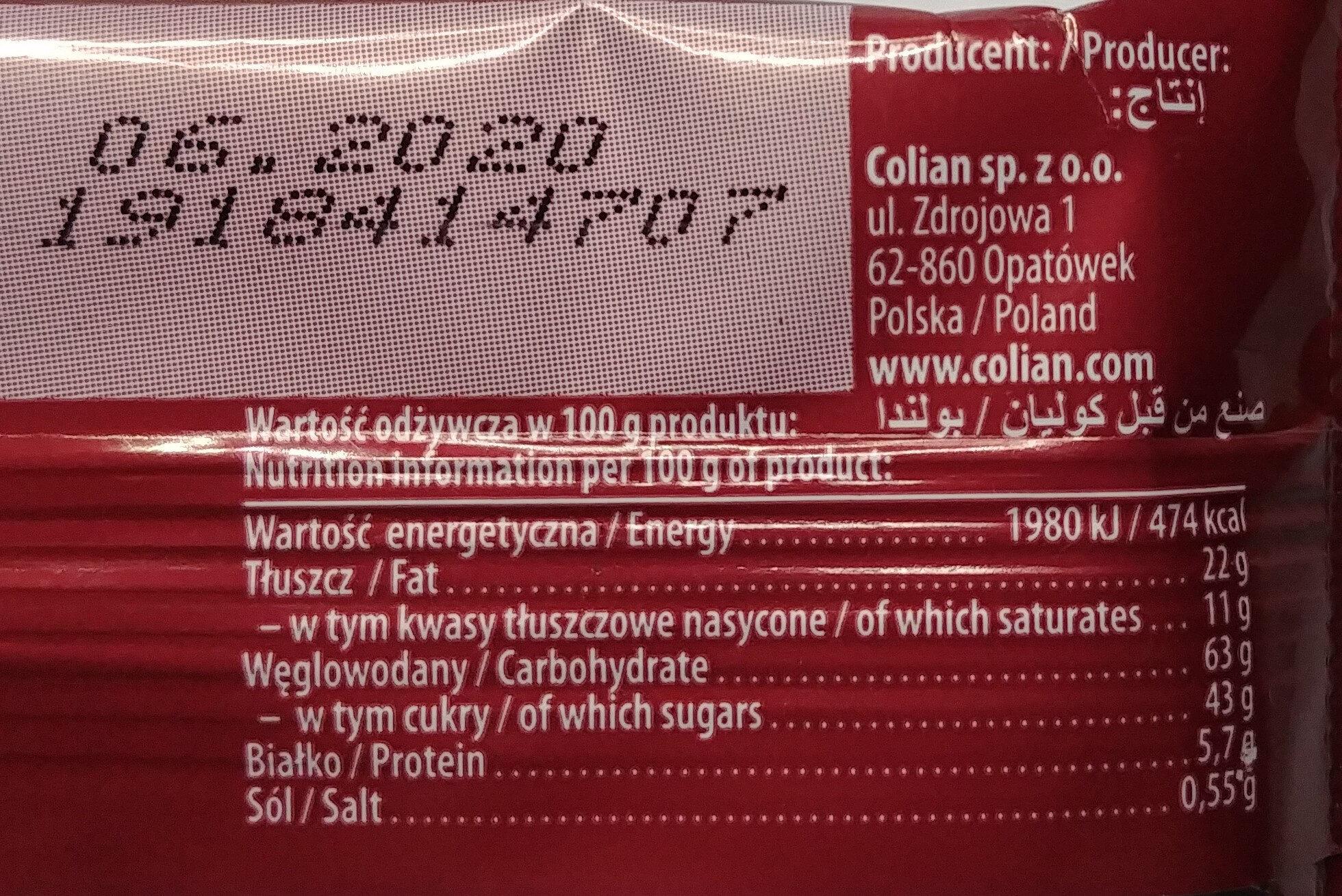 Herbatnik z karmelem 32%, orzechami laskowymi i chrupkami ryżowymi w czekoladzie mlecznej. - Wartości odżywcze - pl