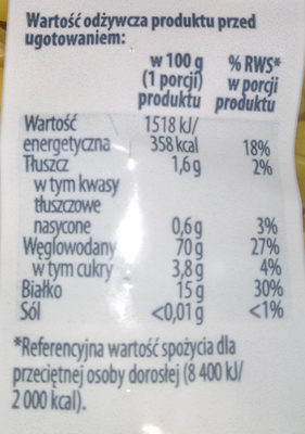 Makaron Świderki - Nutrition facts