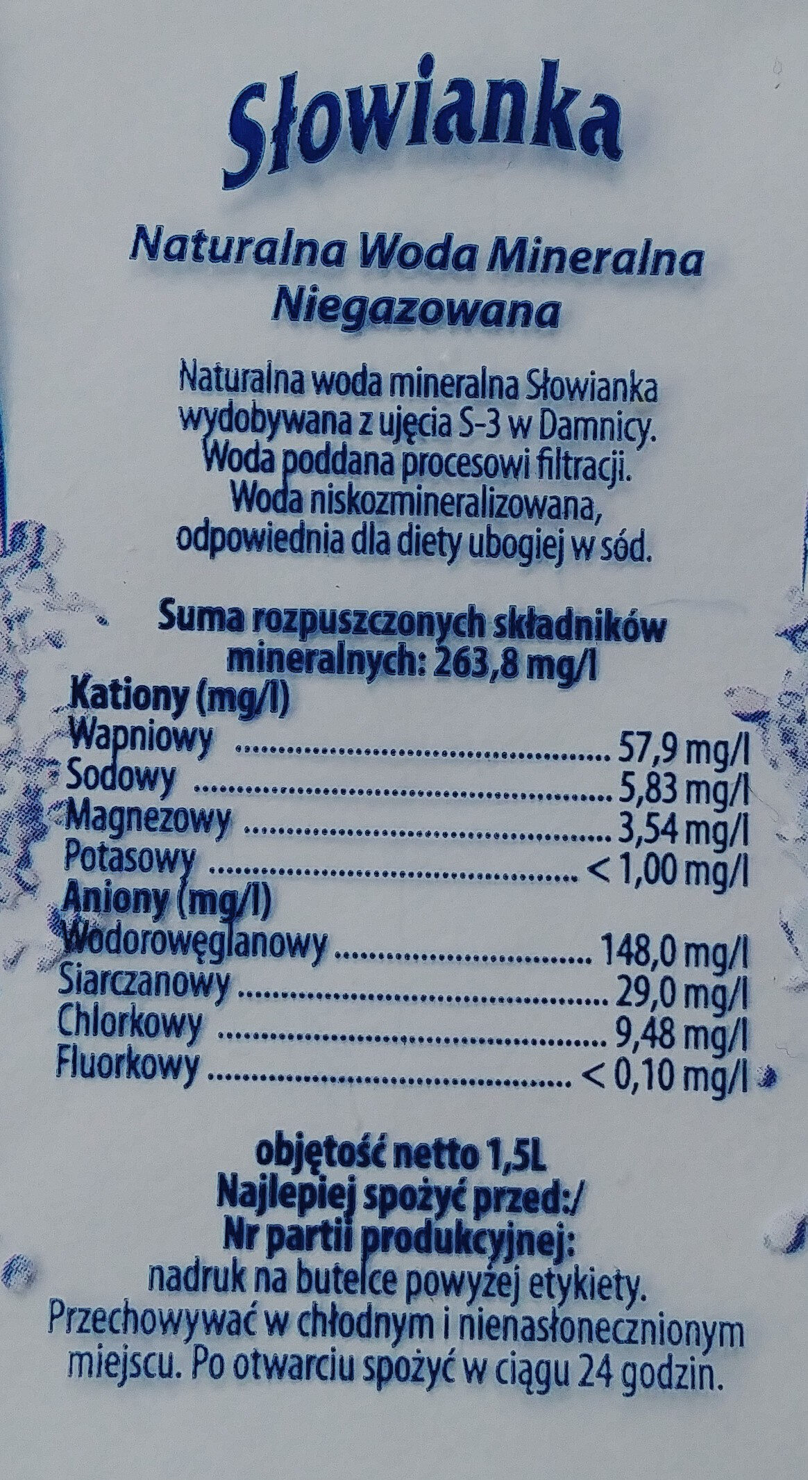 Naturalna woda mineralna niegazowana - Ingredients - pl