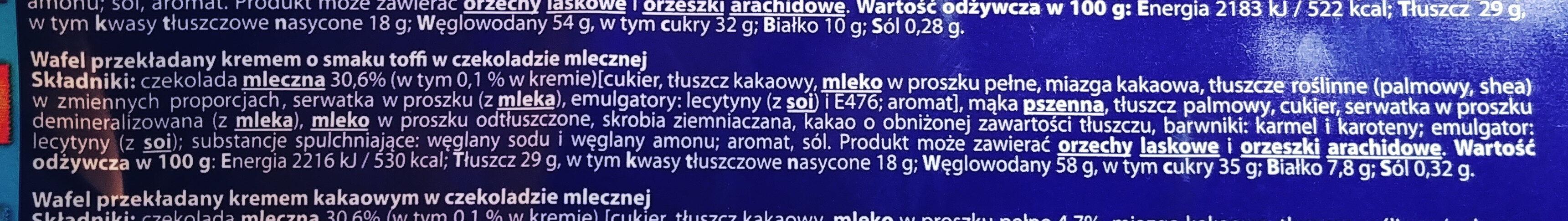 Wafel przekładany kremem o smaku toffi w czekoladzie mlecznej - Ingredients - pl
