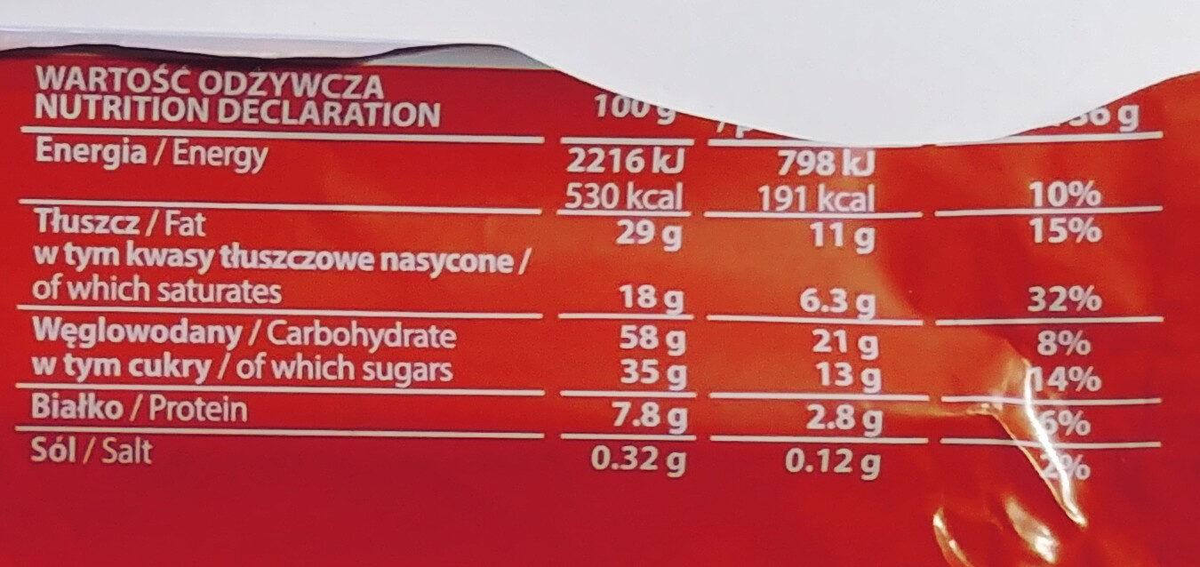 Wafel przekładany kremem o smaku toffi w czekoladzie mlecznej - Nutrition facts - pl