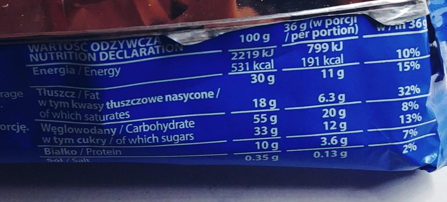 Wafel przekładany kremem kakaowym w czekoladzie mlecznej - Wartości odżywcze