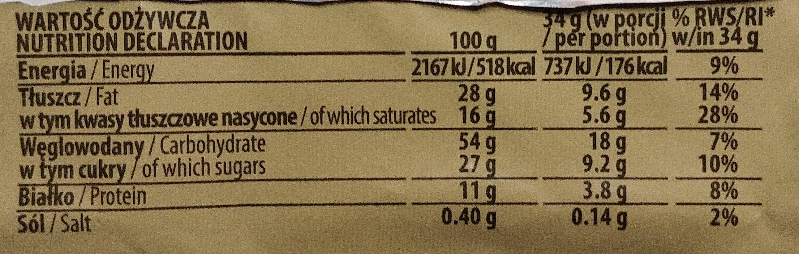 Wafel przekładany kremem kakaowym. - Wartości odżywcze