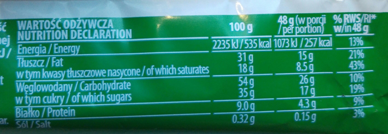 Wafel przekładany kremem orzechowym w czekoladzie mlecznej. - Wartości odżywcze
