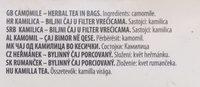 Camomile Matricaria Chamomilla - Ingredients - en