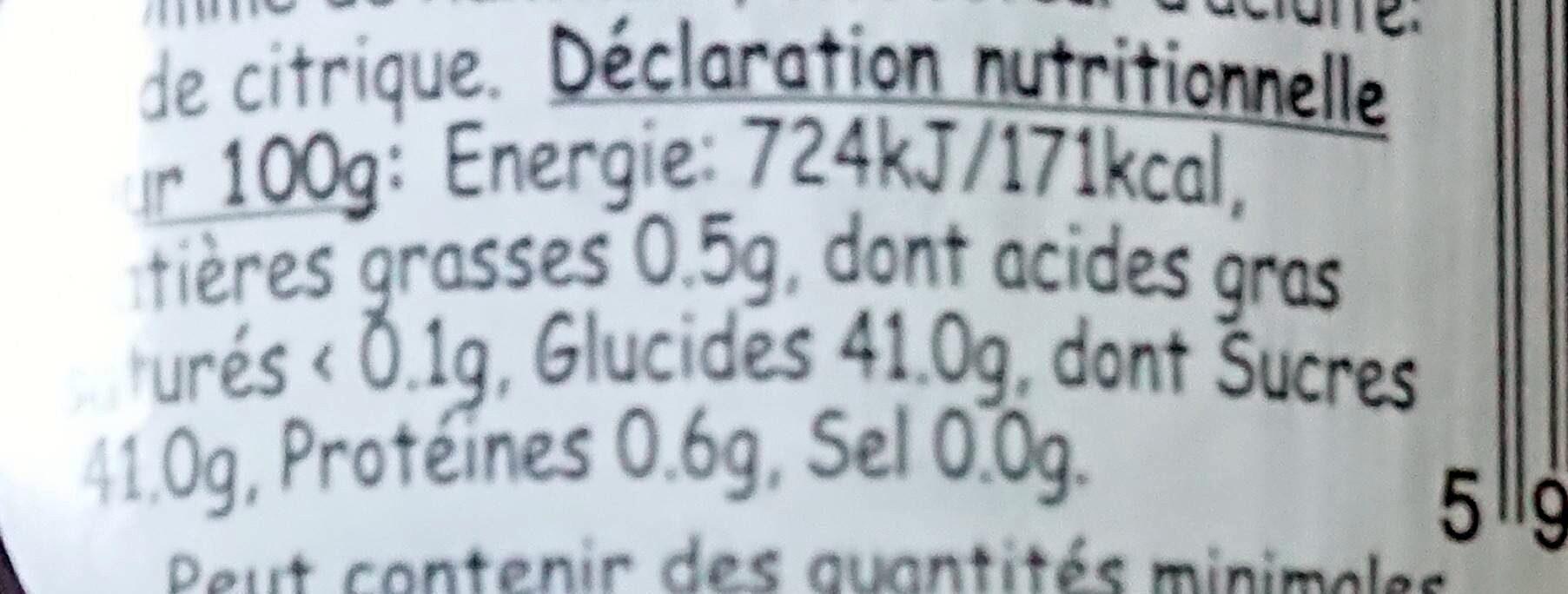 Confiture de griottes 240 G - Informations nutritionnelles - fr