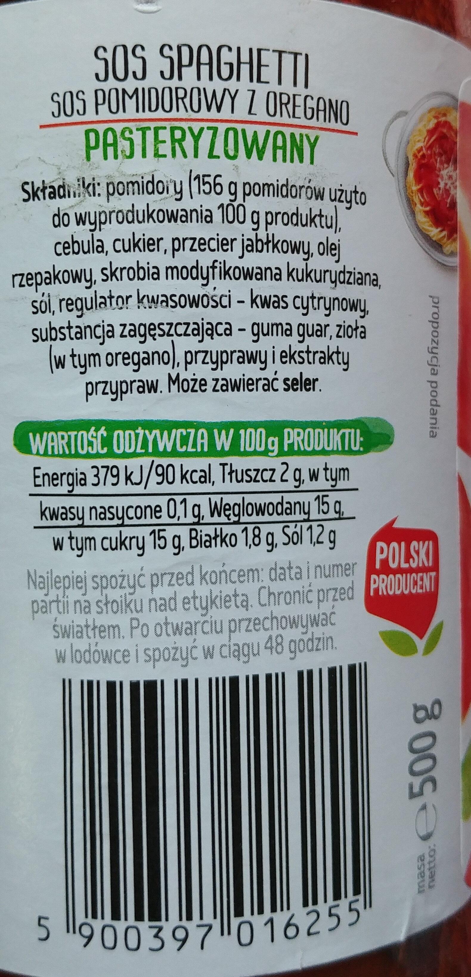 Sos pomidorowy z oregano - Nutrition facts - pl