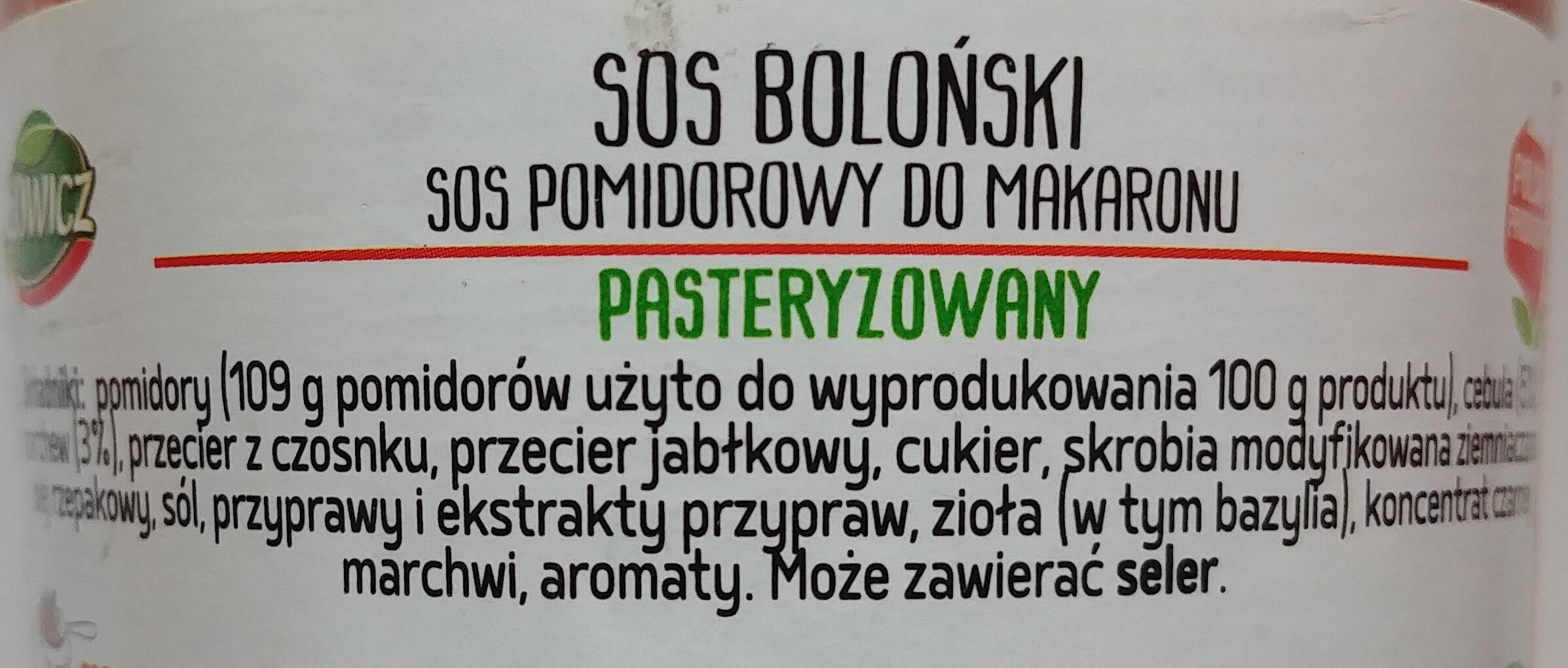 Sos Boloński - Składniki - pl