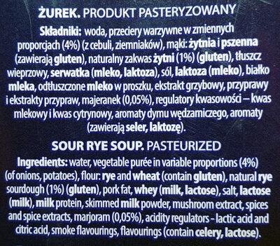 Żurek - Ingrédients - pl