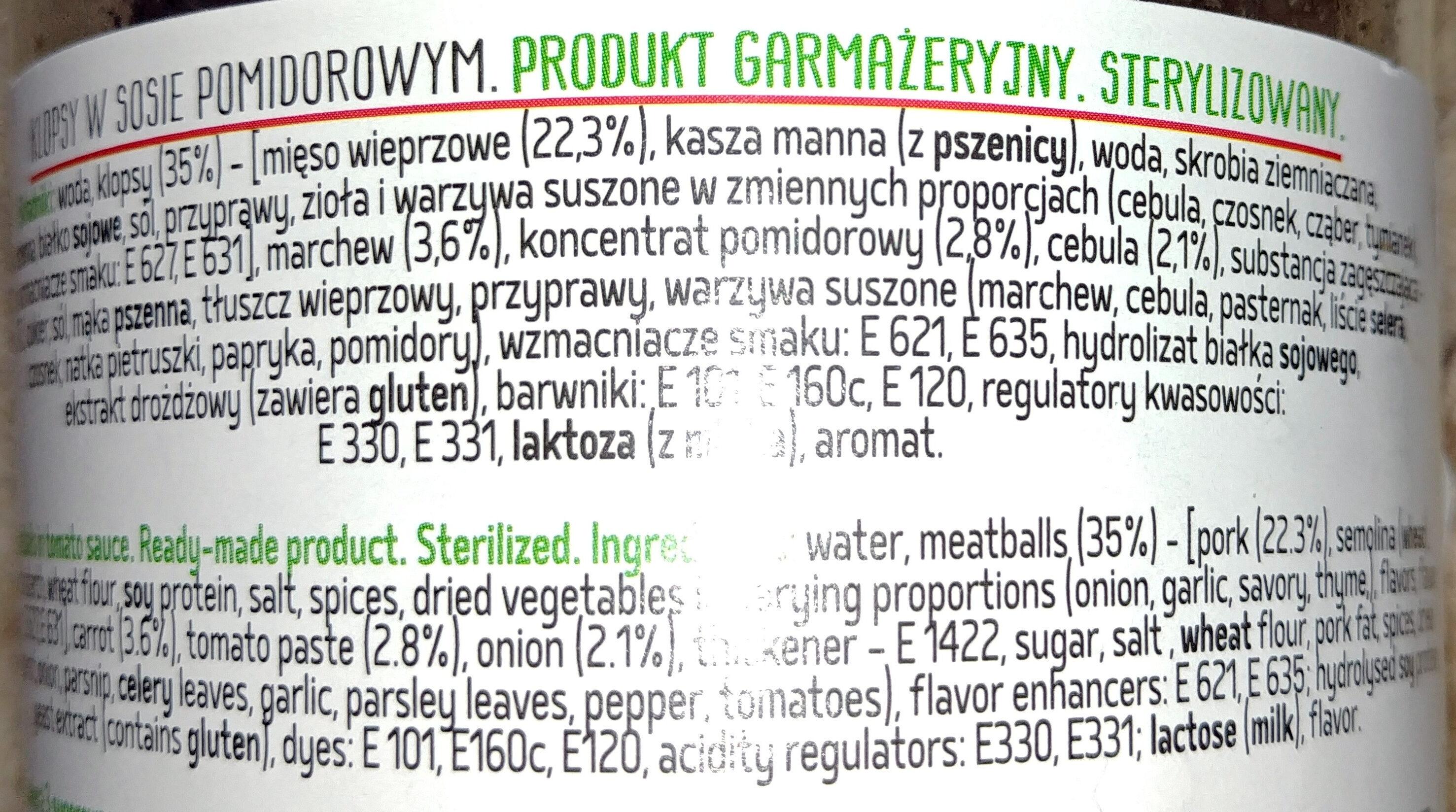 Klopsy w sosie pomidorowym - Ingredients - pl
