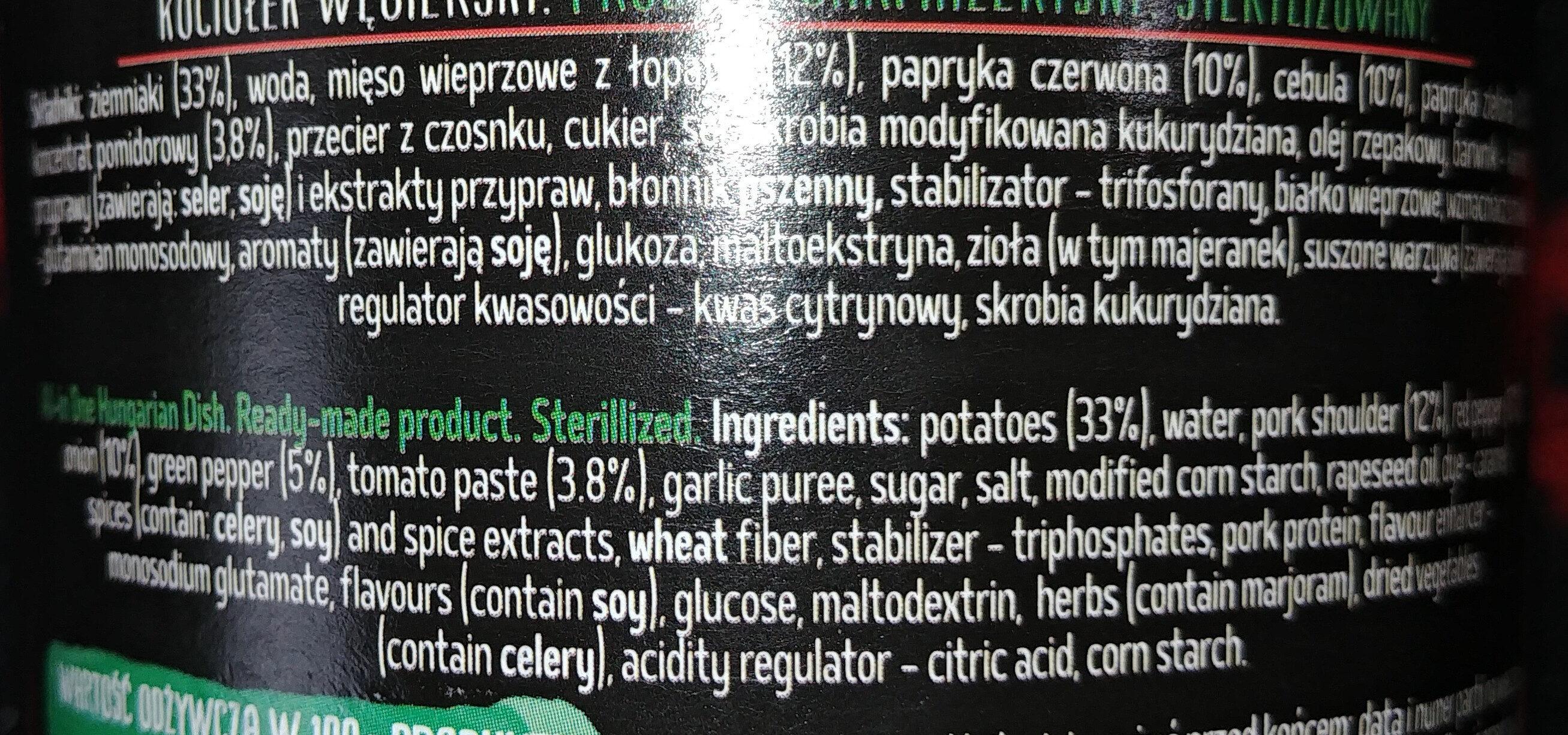 Kociołek węgierski - Ingrédients - pl