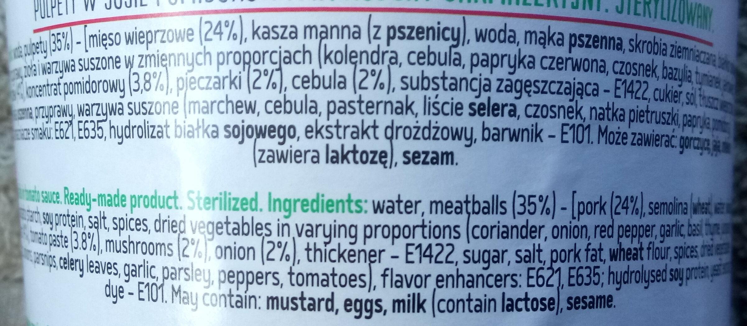 Pulpety w sosie pomidorowym - Ingrediënten