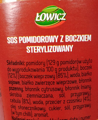 Sos pomidorowy z boczkiem - Składniki