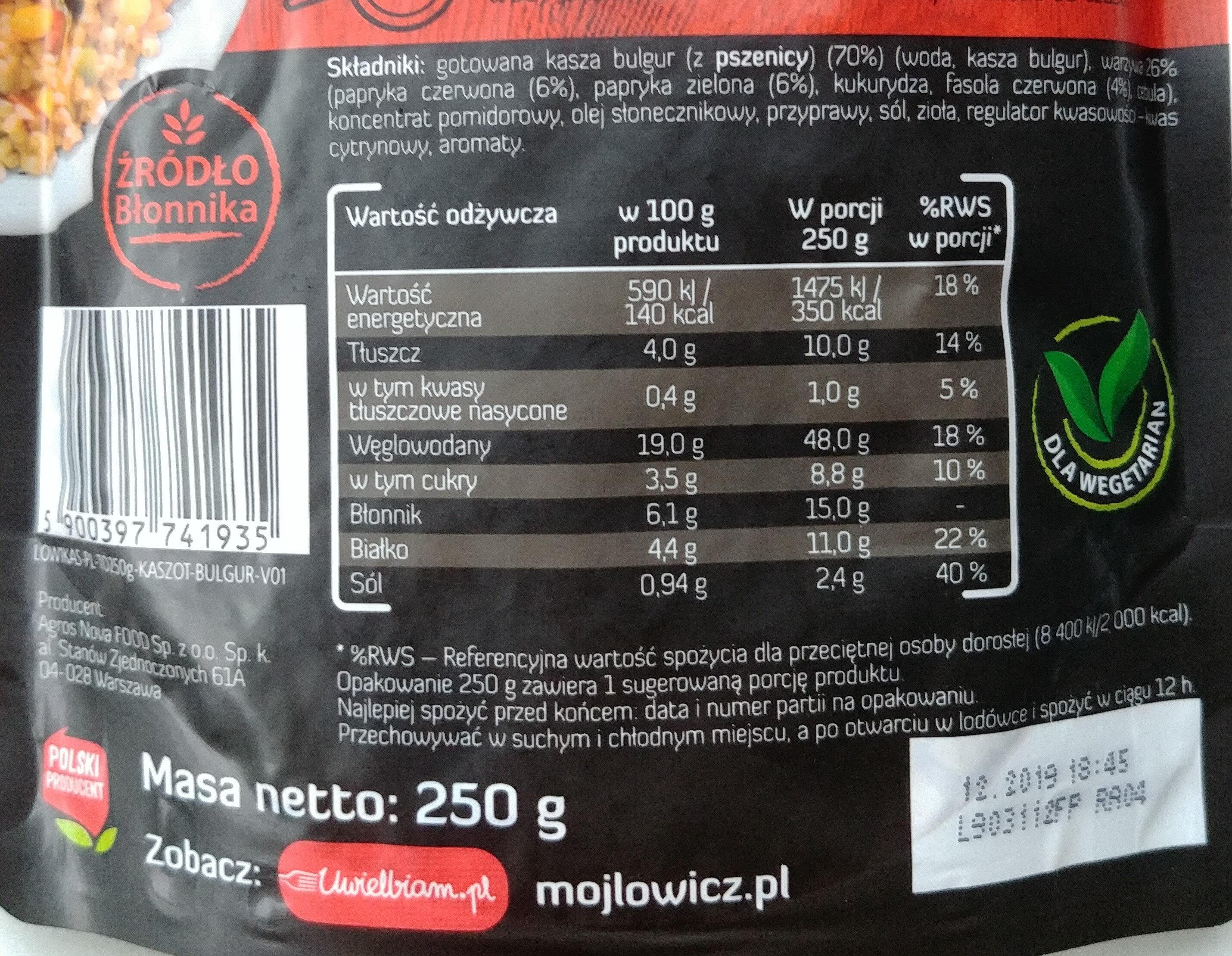 Kasza bulgur z papryką i czerwoną fasolą - Wartości odżywcze - pl