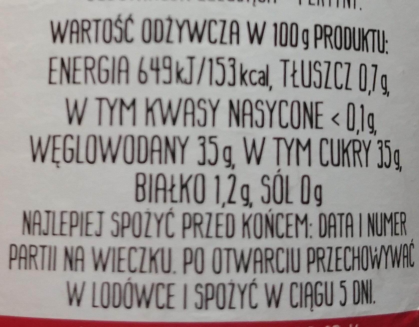 Dżem z wiśni - Wartości odżywcze - pl