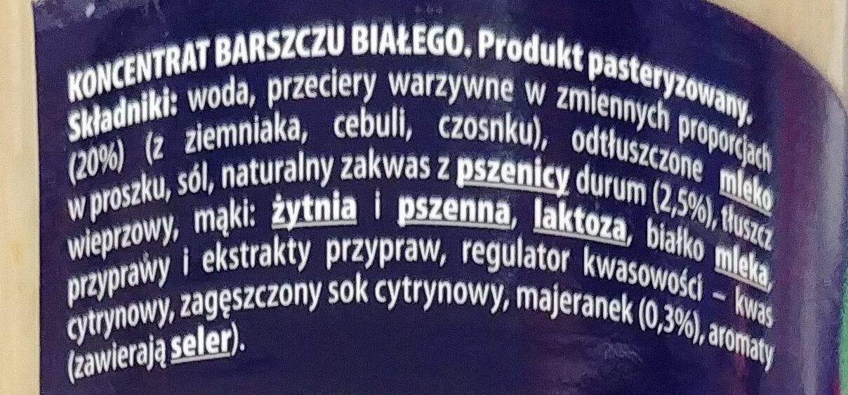 Barszcz biały koncentrat - Ingrédients - pl