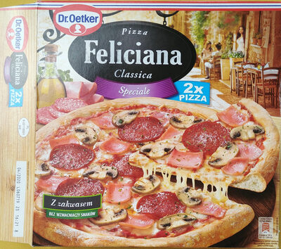 Pizza z szynką, pieczarkami i salami, głęboko mrożona. - Produit