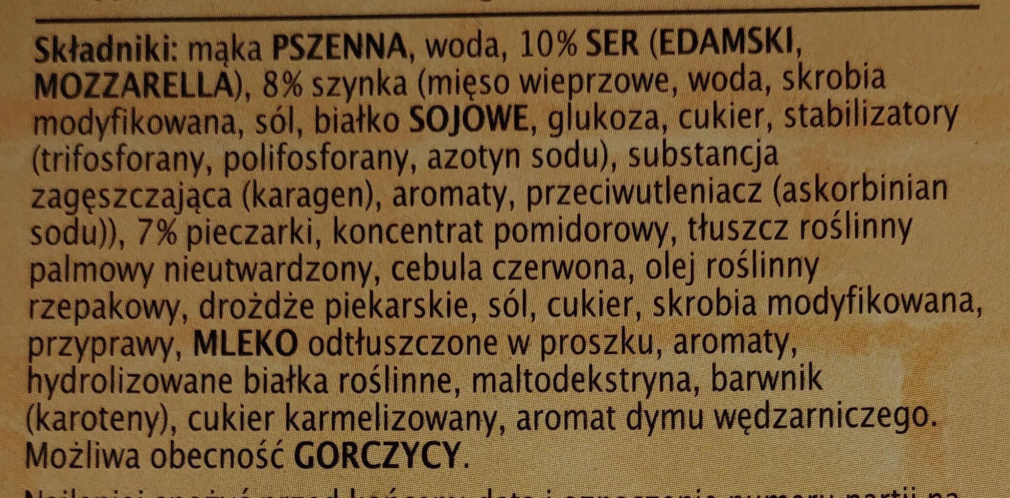 Pizza Guseppe z szynką i pieczarkami głęboko mrożona - Ingrediënten - pl