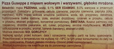 Pizza Guseppe z mięsem wołowym i warzywami, głęboko mrożona - Składniki - pl